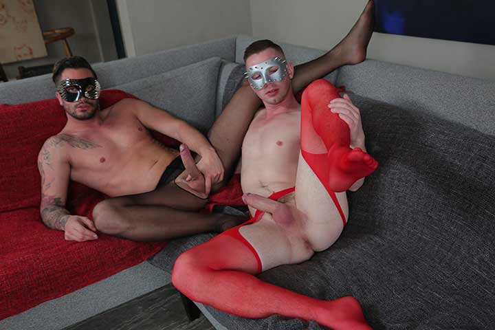 Sizzling hot crossdresser guys parading around in sexy stockings and Foot Fetish In Nylon stockings. boy In pantyhose receives man muff Rammed.